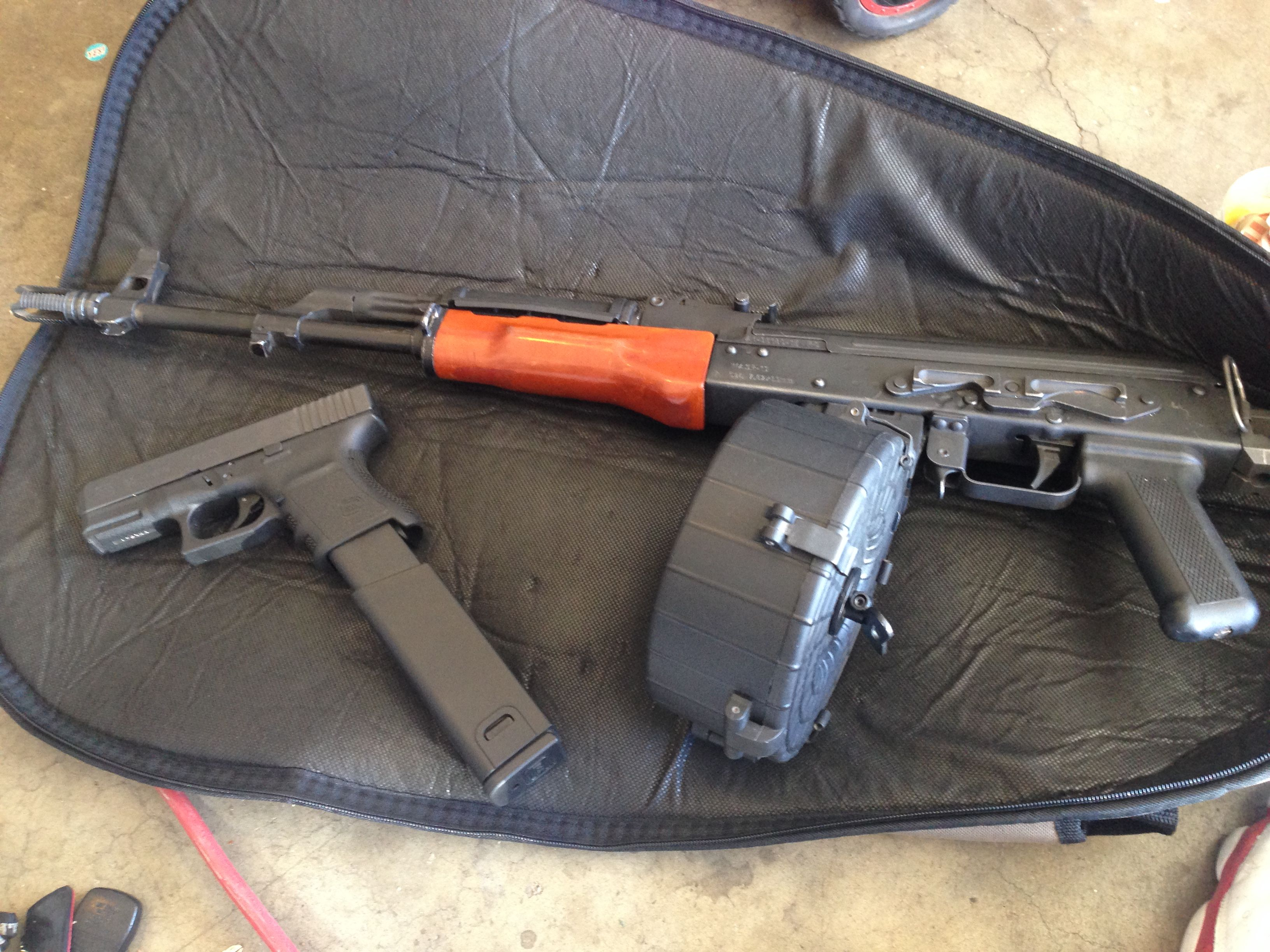my chopper with 75 round drum and glock 45 with 30 round extended