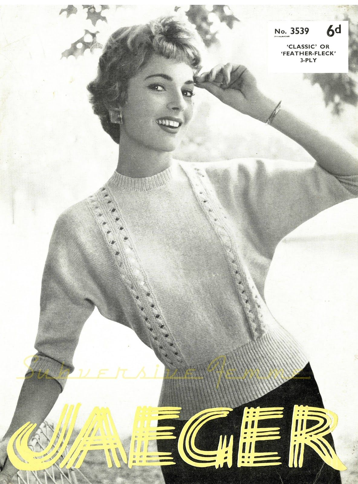 The Vintage Pattern Files: Free 1950s Knitting Pattern - Dolman ...