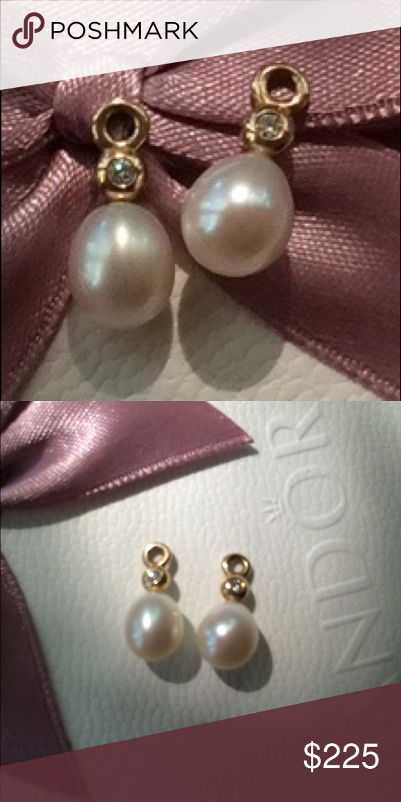 Pandora gold pearl&diamond compose earrings Retired new Pandora perfection compose earrings with Pearl & diamonds. Pandora Jewelry