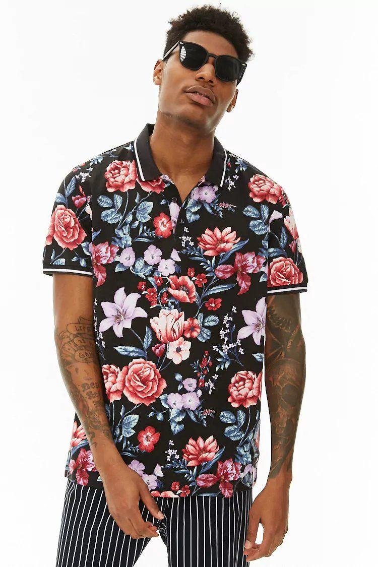 7e88548b0 Product Name:Striped-Trim Floral Print Polo, Category:mens-main, Price:14.9