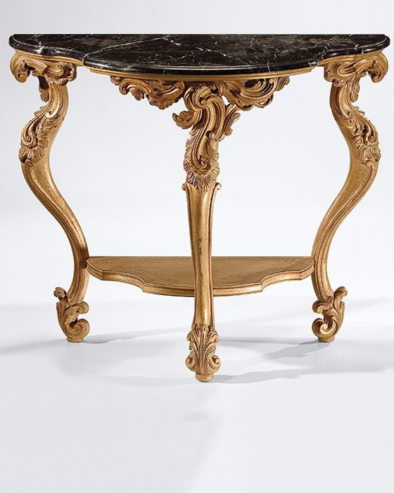 Louis Xiv Carved Console Style Wood Table With Antique Gold Leaf Finish And Black Marquina Marble Top Beveled Edges