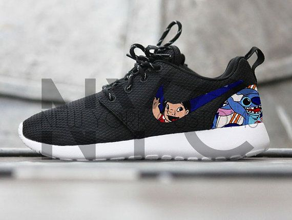 cheap for discount b742a a00d2 Lilo Stitch Nike Roshe Run Black Custom by NYCustoms on Etsy