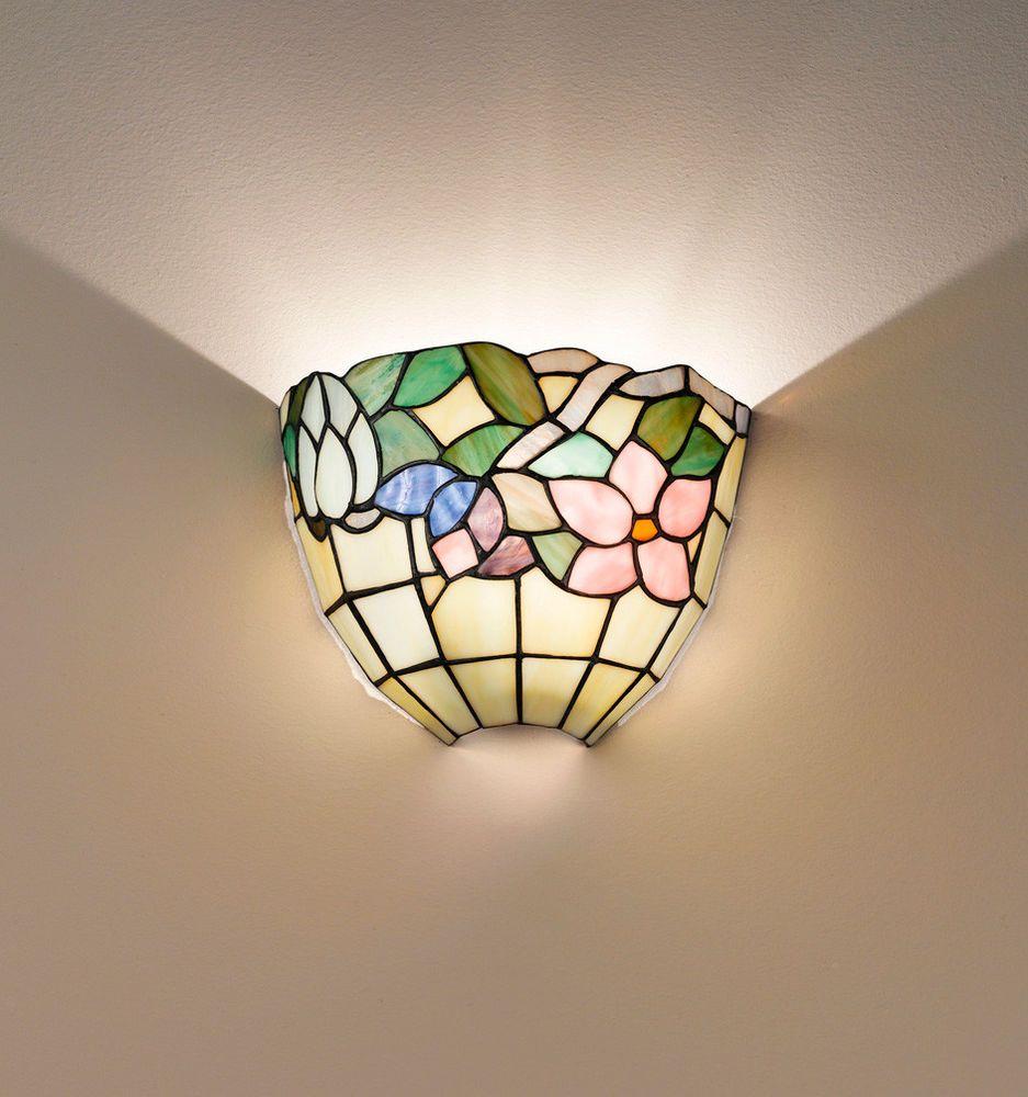 Lampada Applique Tiffany Vetro Decorato con Fiori Perenz