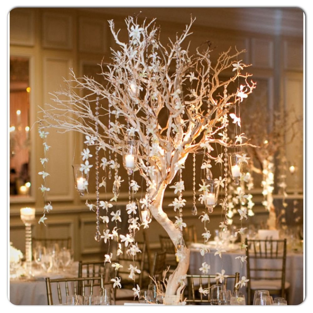 Winter Wedding Centerpiece White Tree With Lanterns And White Garland Or Snowflakes Wedding Decorations Wedding Centerpieces Wedding Table