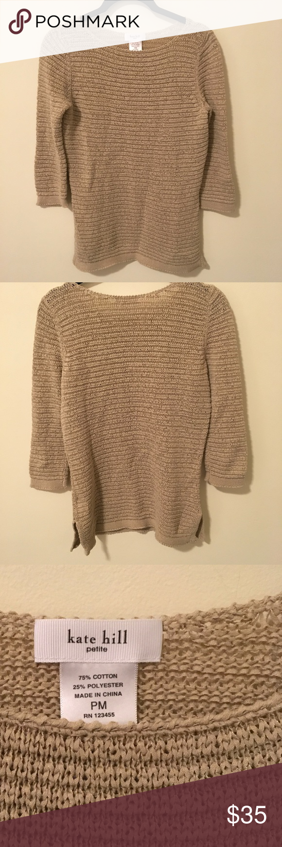 Kate Hill Tan Cotton Knit Sweater | Cotton, Black and Customer support