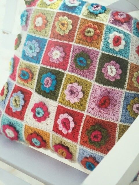 #crochet granny flower pillow pattern in Crazy for Crochet book