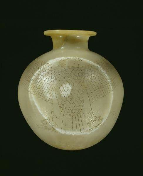 Egyptian Alabaster Vase Decorated With A Falconreign Of King Unas