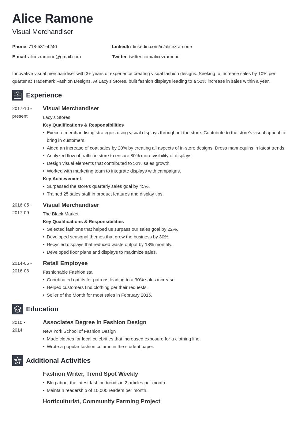 Visual Merchandising Resume Example Template Newcast Resume Examples Job Resume Examples Visual Merchandising