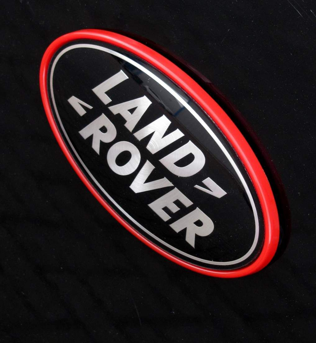 Range Rover Sport Badge on Red Plinth Black & Silver