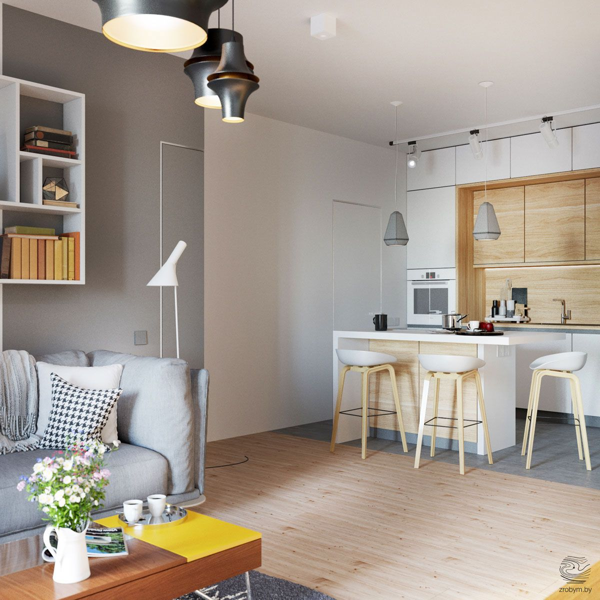 Grey And Yellow Open Plan Small Apartment Tour Small Apartment