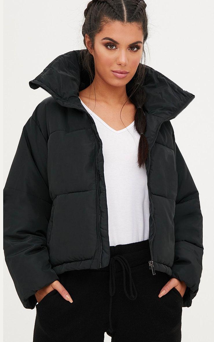 Black Cropped Puffer Jacket Black Crop Jackets Clothes Design