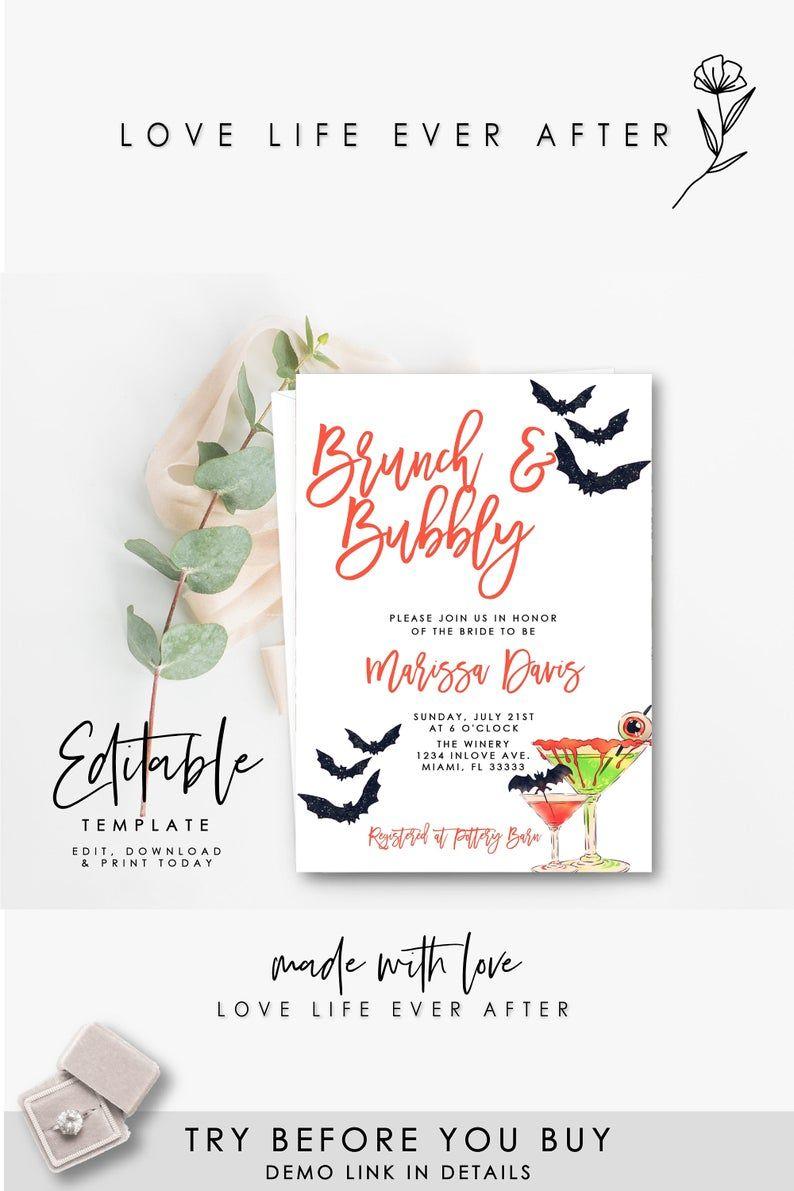 Halloween Bridal Shower Invitation Editable Brunch Bubbly Bridal Shower Invite Templ In 2020 Halloween Bridal Showers Bubbly Bridal Shower Bridal Brunch Invitations