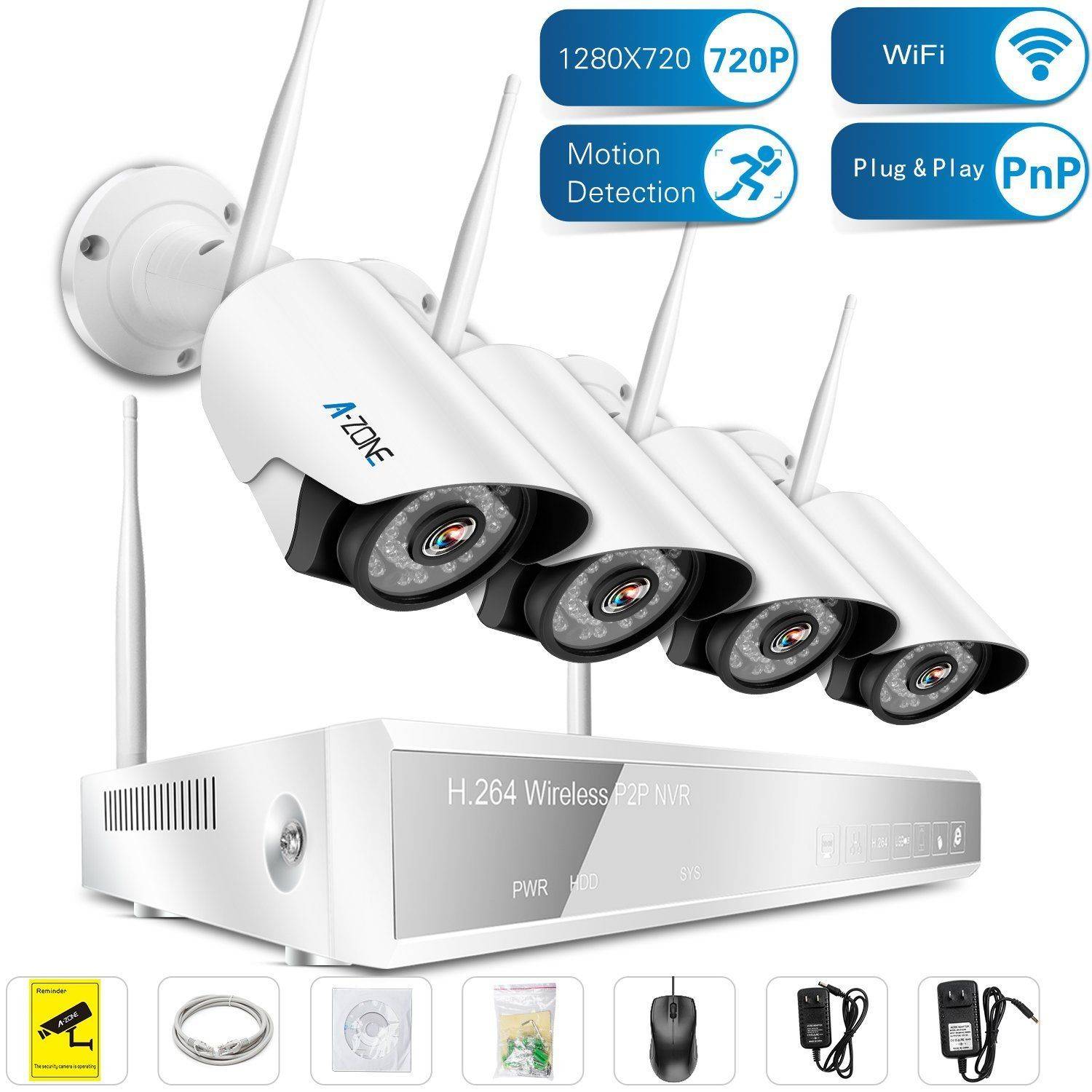 A-ZONE 4 Channel 960P NVR Wireless CCTV Security Camera System 4 X ...