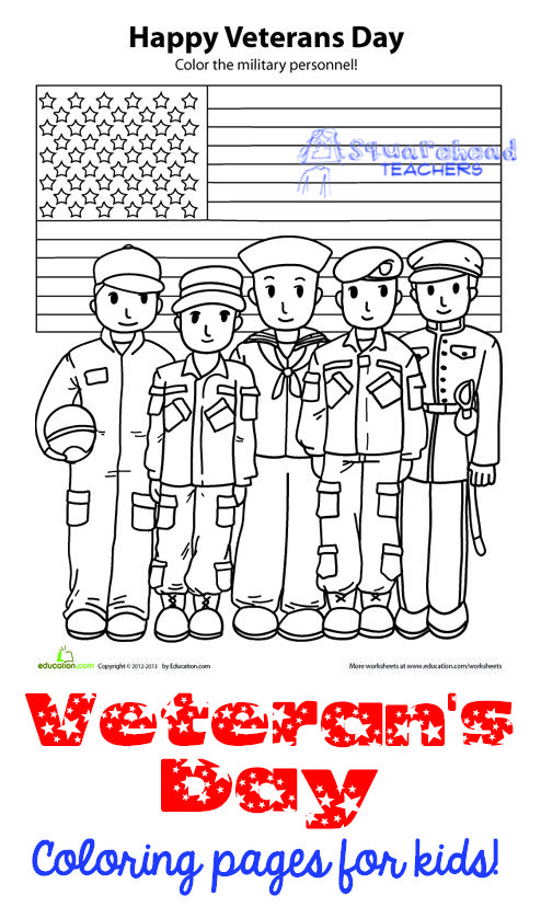 veterans day coloring pages activities for kids squareheadteachers