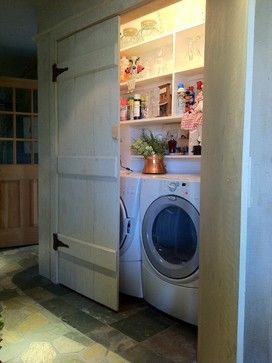 Remodelaholic 25 Ideas For Small Laundry Spaces Rustic Laundry Rooms Laundry Closet Laundry Doors