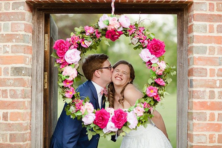 Flower Wreath Photo Booth Homespun Fun Cricket Fete Games Wedding