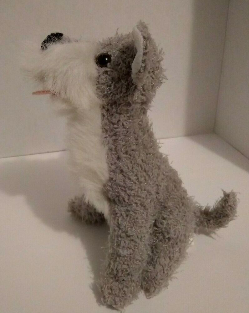 Dollar Tree Gray Schnauzer Dog Plush Soft Toy 9 Stuffed Sitting
