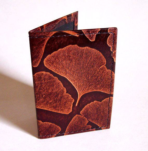Leather Card Case Ginkgo Leaf Pattern In By GardenourLeather 1700