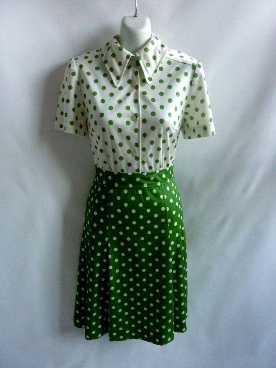 Vintage 60s Dress Size M Kelly Green White Polka Dot Mod by jdbok. Nylon