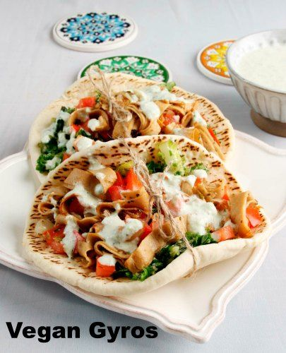 Meatless Vegan Gyros Recipe on Family Focus Blog via @Matt Nickles Nickles Nickles Nickles Nickles Valk Chuah from The Healthy Voyager's Global Kitchen Cookbook