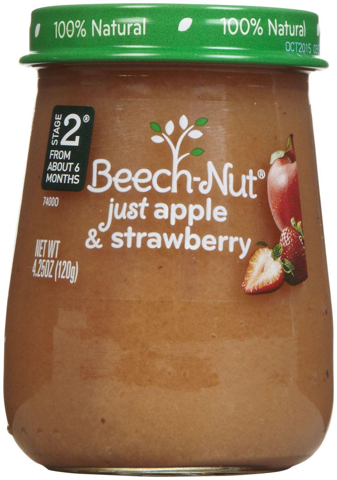 Beechnut stage 2 just purees apple strawberry free