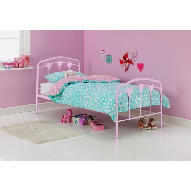 Buy Home Hearts Single Bed Frame Pink At Argos Co Uk Your Online Shop For Children S Beds Ch Single Bed Frame Childrens Beds Childrens Furniture
