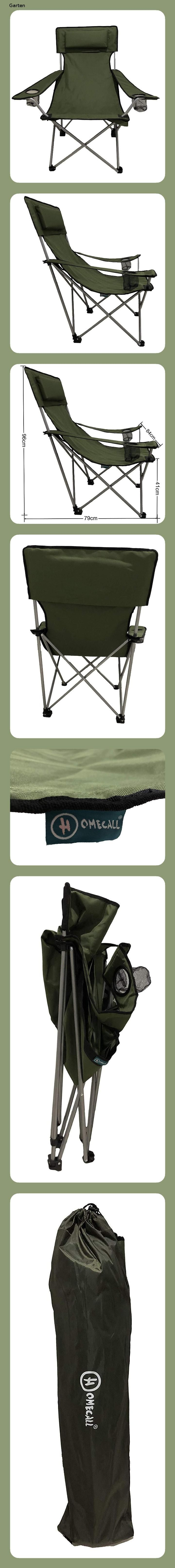 HOMECALL Camping Chair, foldable, green, Armrests with