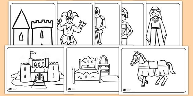 Castles And Knights Colouring Sheets Knights Castles Colouring
