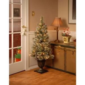 Martha Stewart Living 4 ft. Pre-Lit Potted Sparkling Pine Artificial Christmas Tree with Clear Lights and Pine Cones-GB1-339-40 at The Home ...