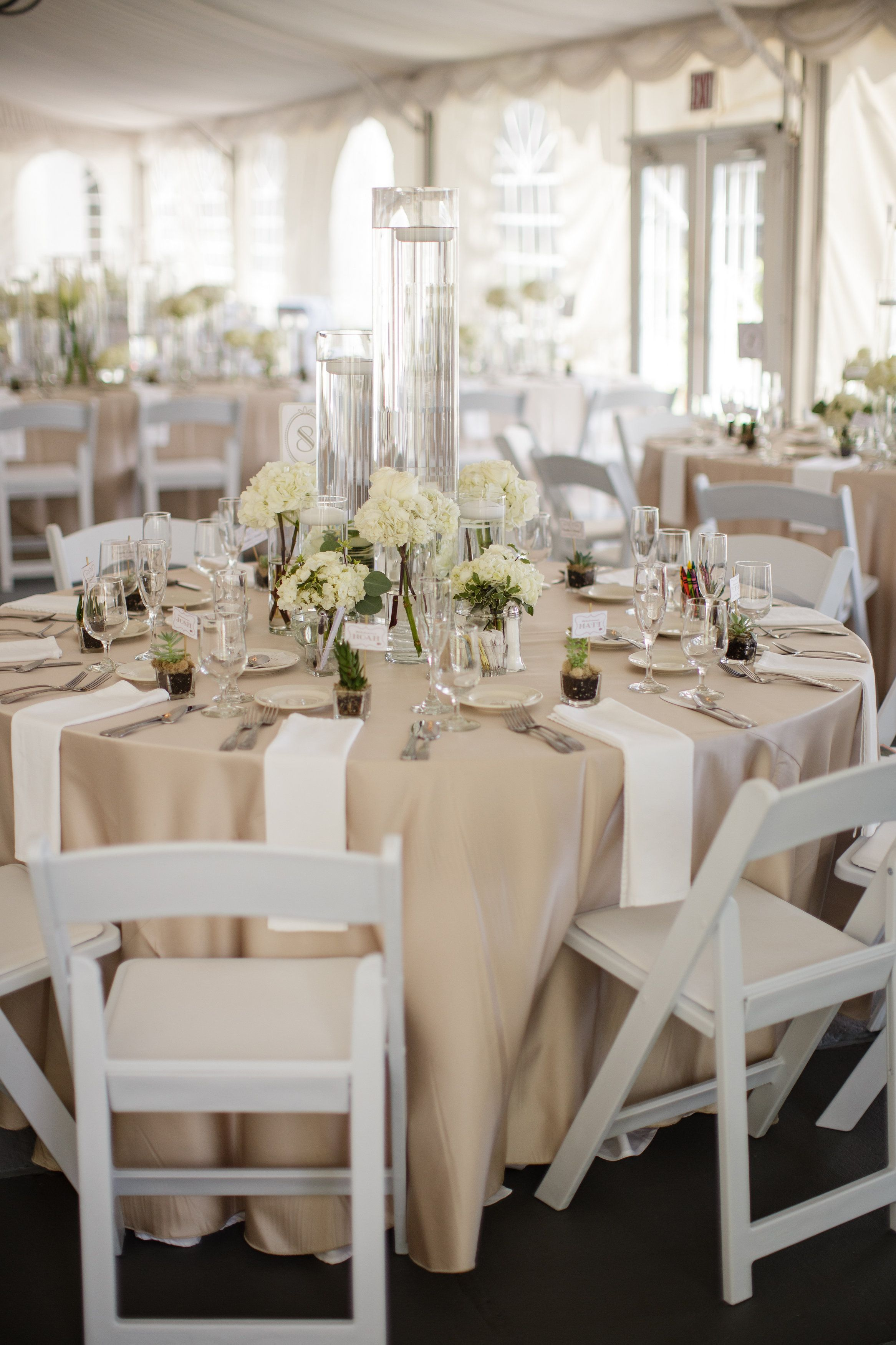 Champagne & white themed wedding reception | DIY Wedding Ideas ...