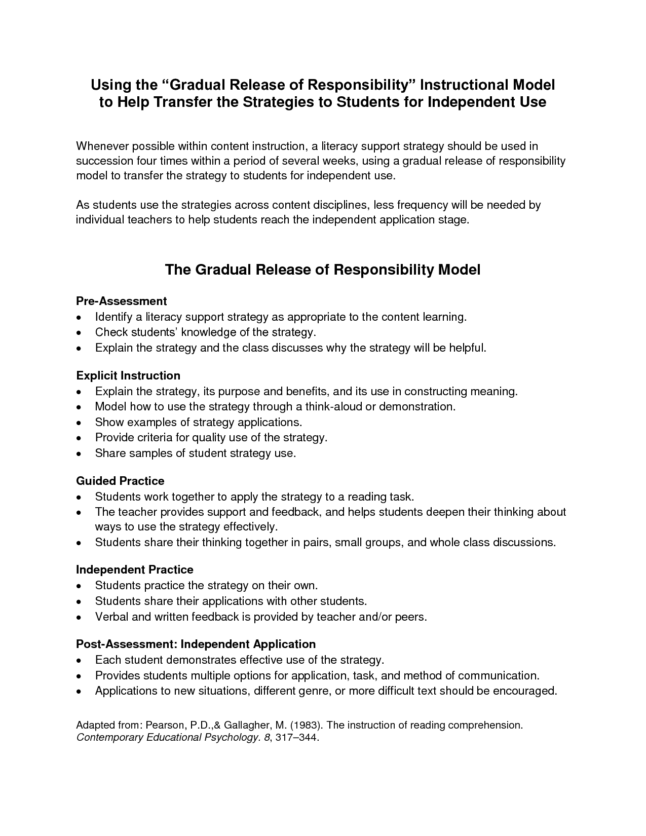 Gradual Release Of Responsibility Literacy Instructional