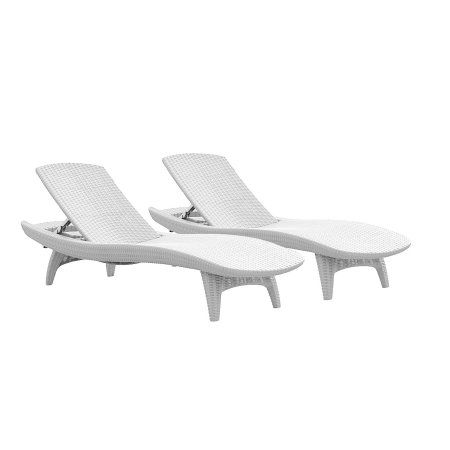 Keter Pacific Chaise Sun Lounger 2 Pack Adjustable White