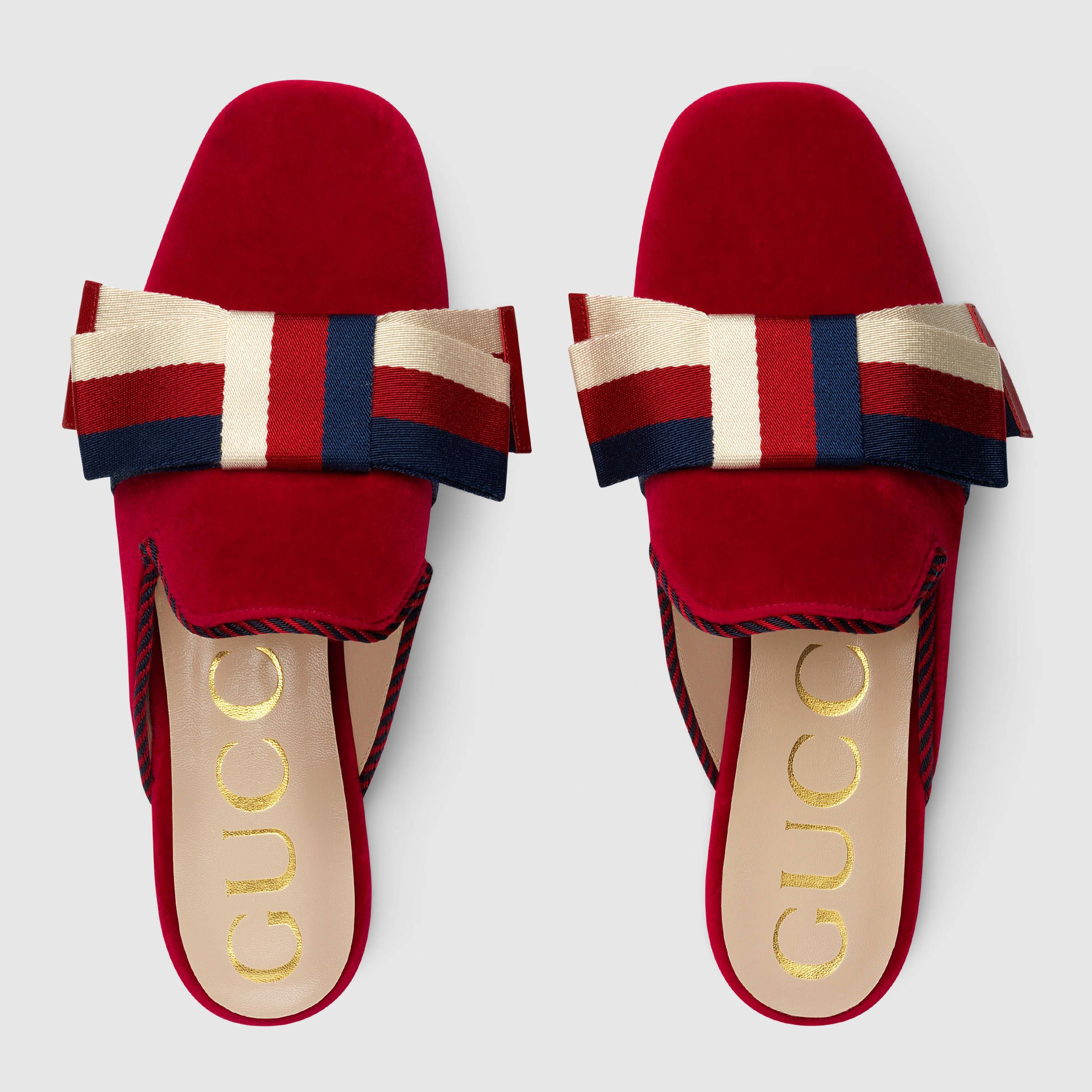 ea9c5f38101a Velvet slipper with Sylvie bow - Gucci Women s Moccasins   Loafers Velvet  slipper with Sylvie bow   630