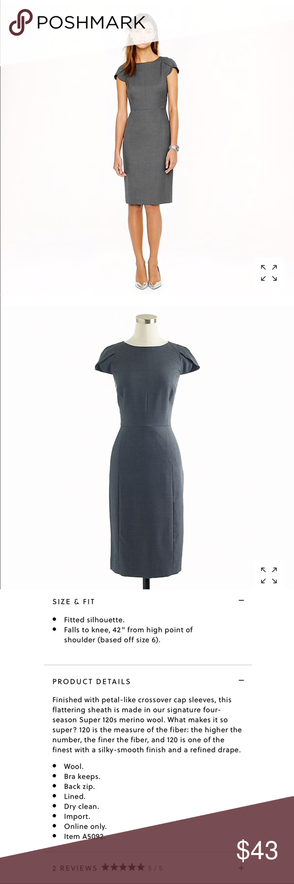 J Crew Petal Sleeve Dress In Super 120s Size 2t Dresses For Work Dresses With Sleeves Clothes Design [ 1740 x 580 Pixel ]