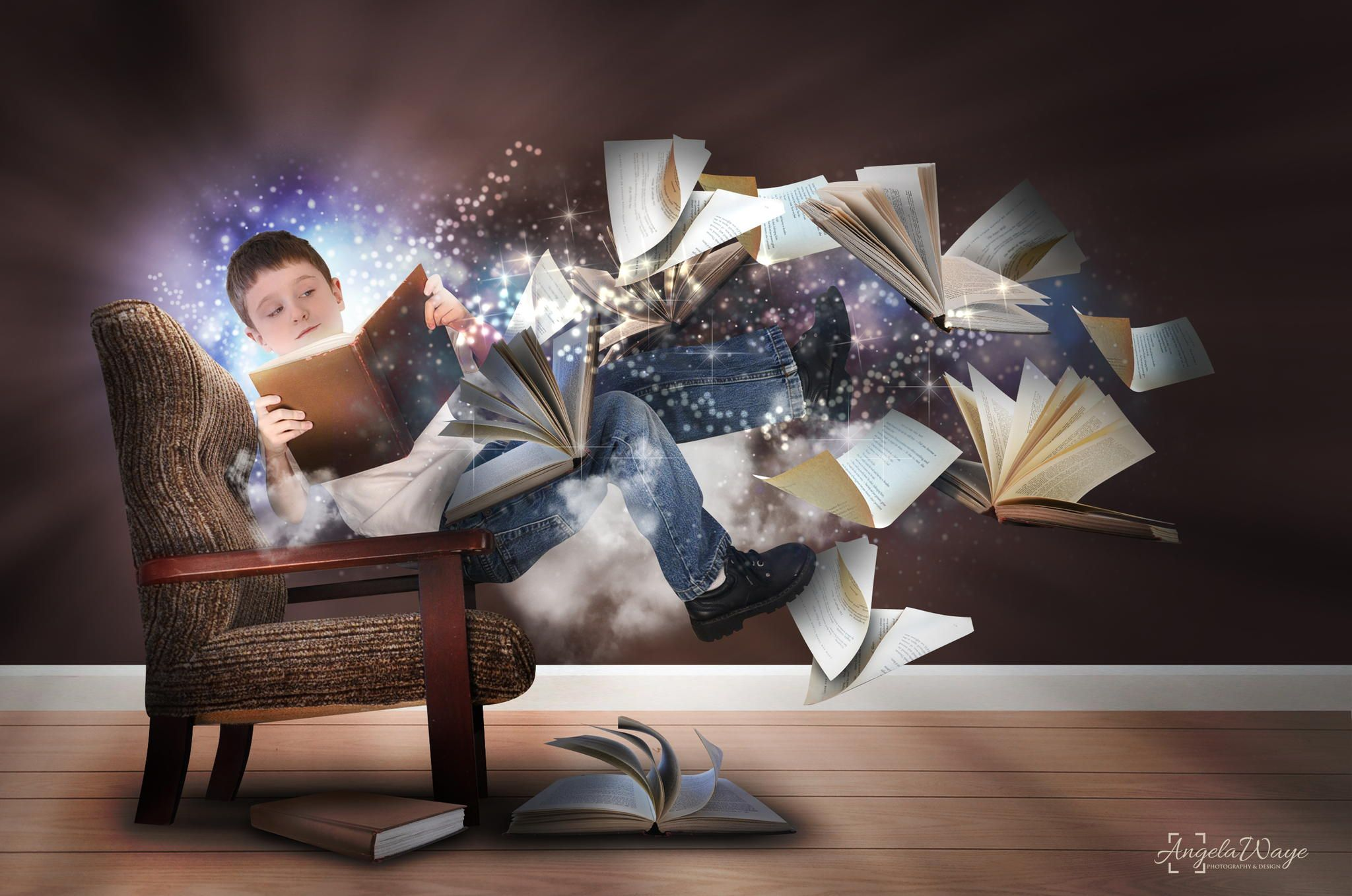 Imagination Boy Reading Books in Chair by Angela Waye on 500px