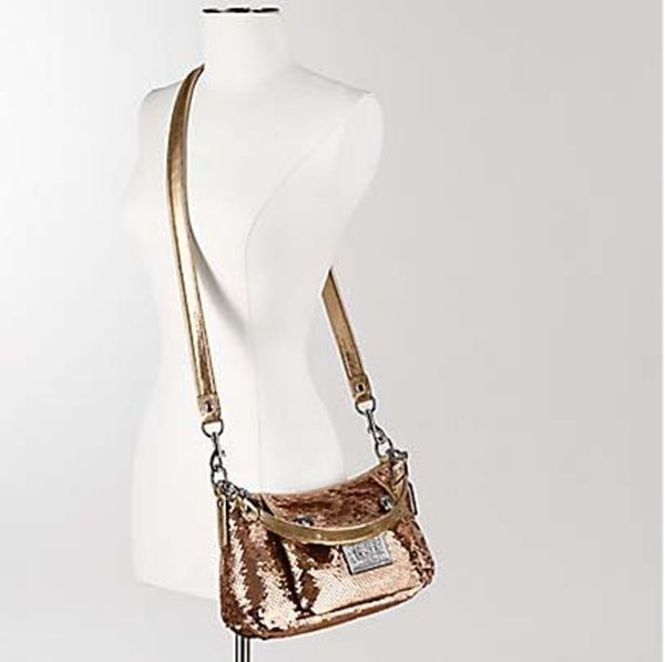 Coach Poppy Gold Sequin Crossbody Groovy Handbag Purse 15381  Coach   MessengerCrossBody 8fa57b6f8a