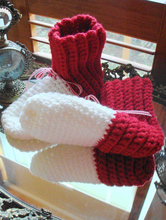 hand crochet chunky slipper boots ~ slipper rib boots ~ Red White ...