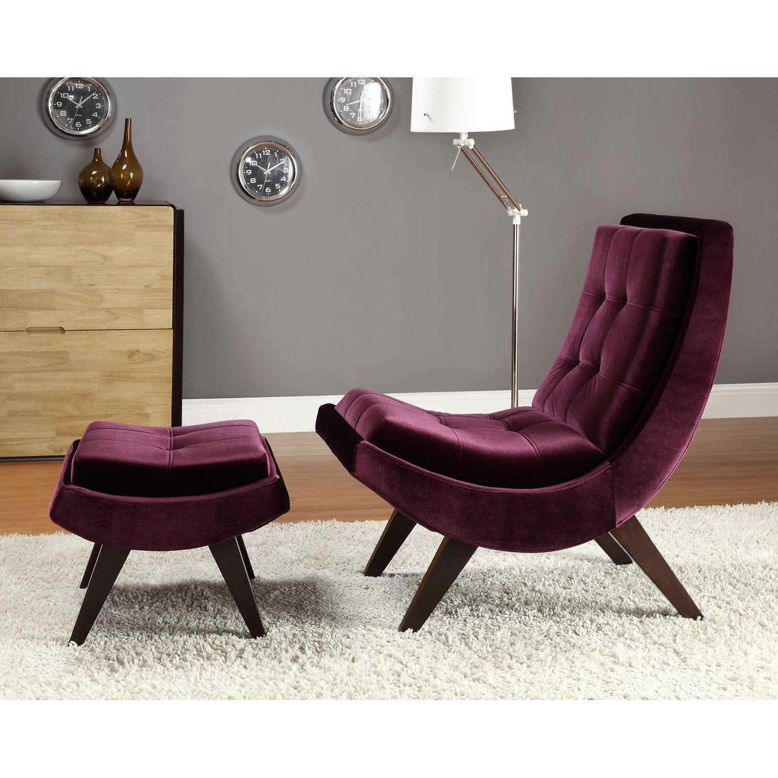 modern chairs for living room%0A Chelsea Lane Lashay Velvet Lounge Chair  u     Ottoman  Purple  HN   S   S  A