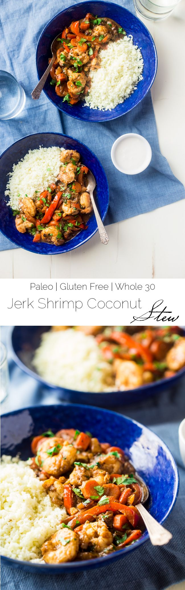 Whole 30 Jerk Shrimp Stew with Cauliflower Rice - This creamy stew uses coconut milk, pineapples and bold flavors for a healthy, 30 minute weeknight meal that is paleo friendly and whole 30 compliant! | Foodfaithfitness.com #jerkshrimp