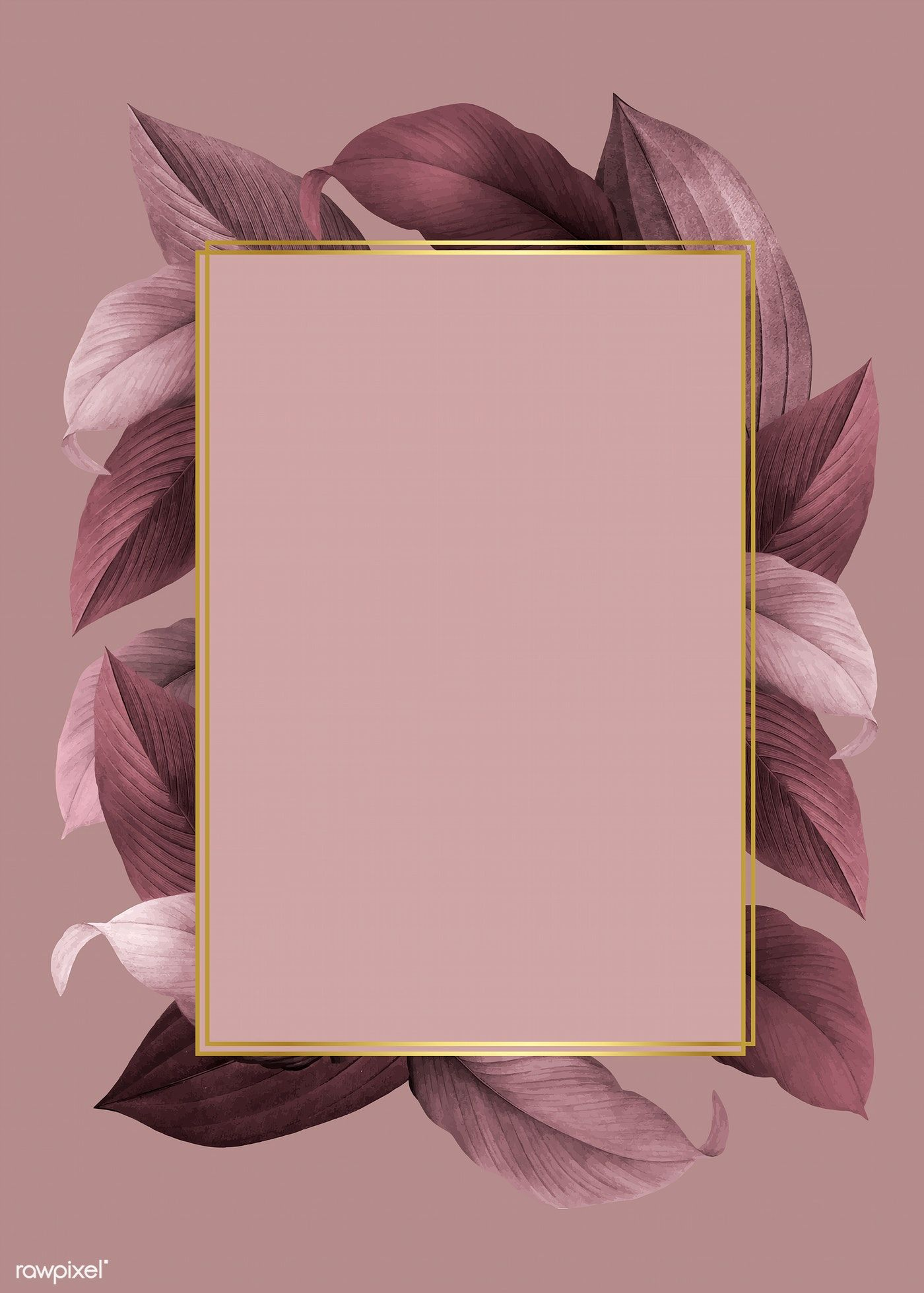 Golden Frame On A Pink Leafy Background Vector Free Image By