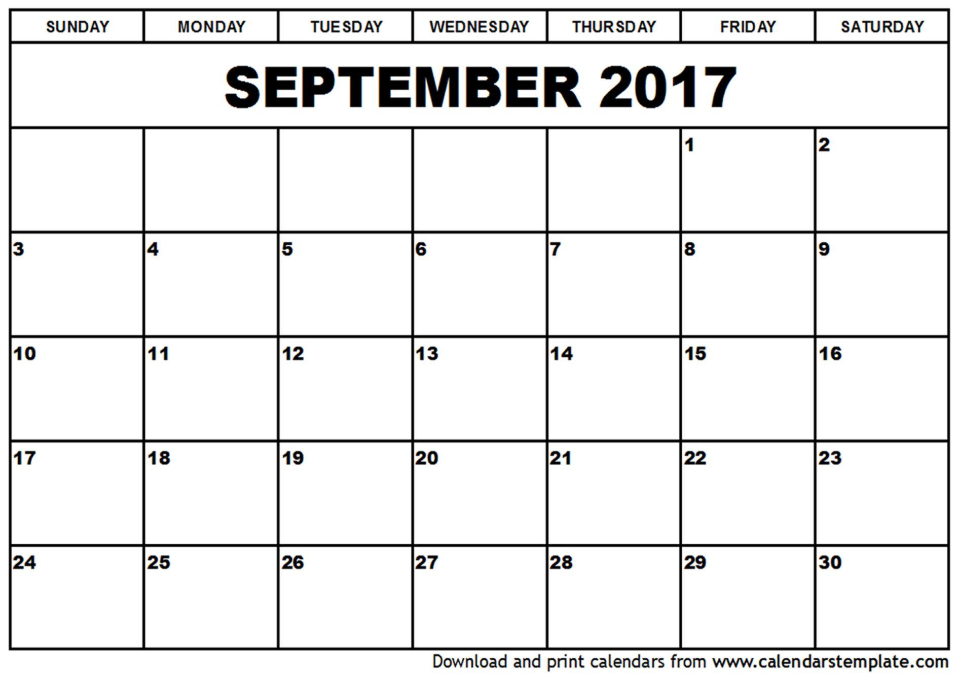 September 2017 Calendar September 2017 Calendar Printable