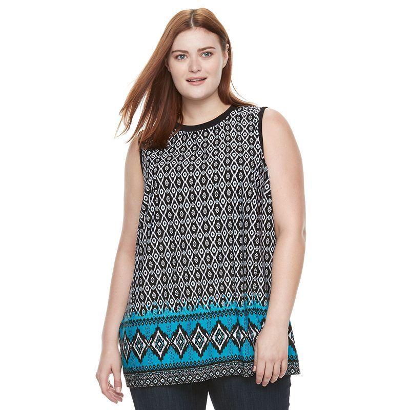 Plus Size AB Studio Printed Knit Tank, Women's, Size: