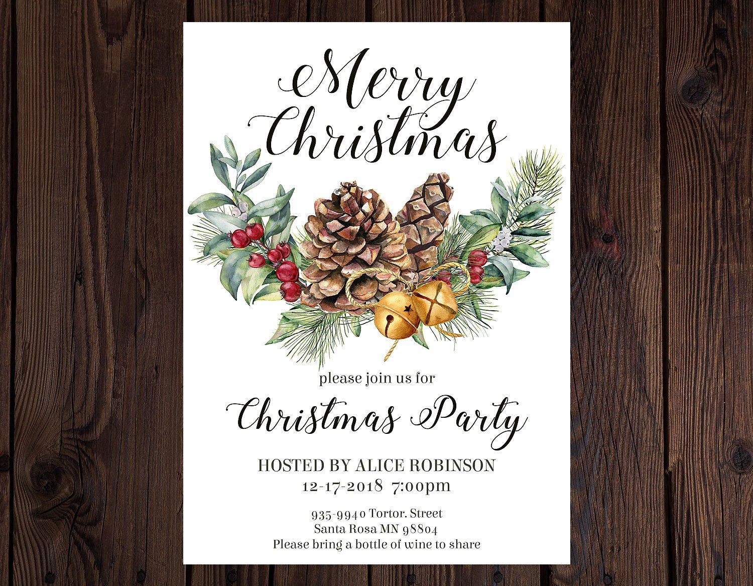 Christmas Party Invitation, Christmas Dinner invitations, Watercolor ...