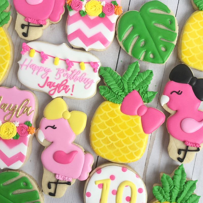Flamingo And Pineapple Themed Cookies For Jayla's 10th
