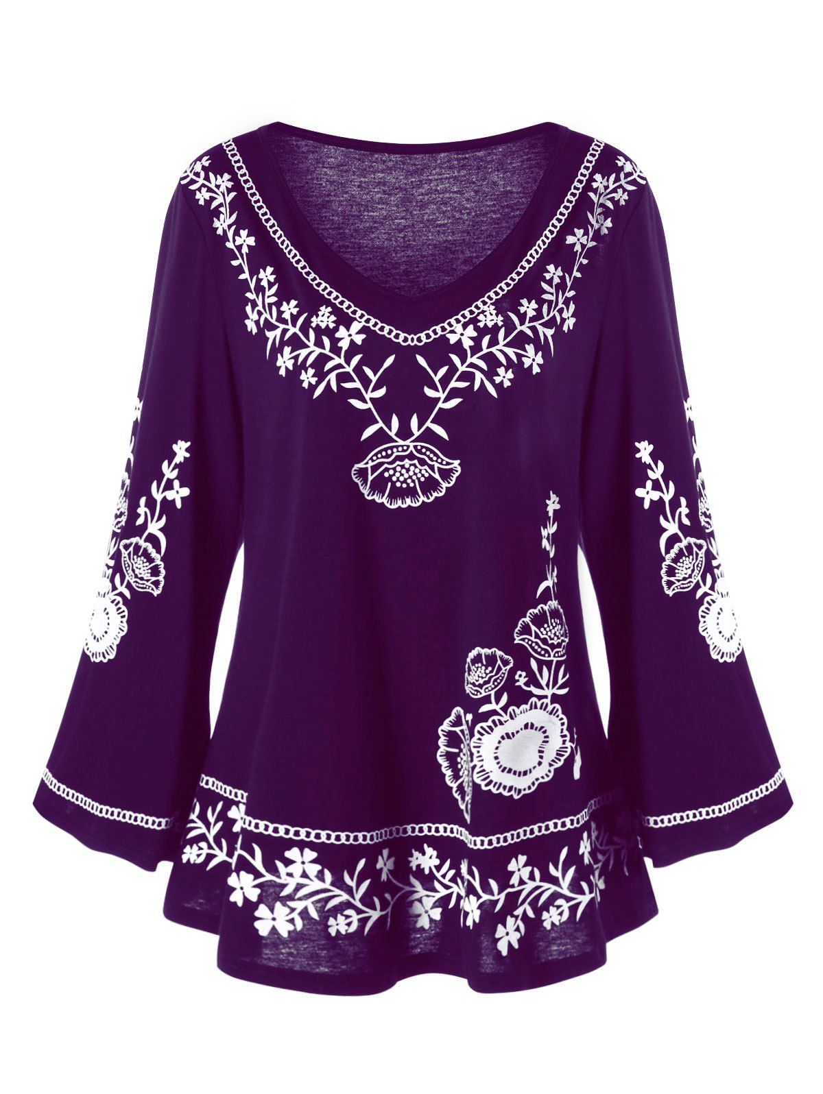 plus size monochrome floral flare sleeve top | monochrome, floral