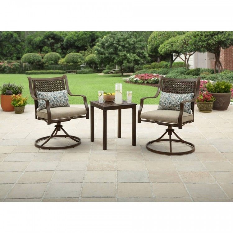 Outdoor Patio Bistro Set Side Table 2 Comfy Swivel Chairs W Cushions Pillows 745528867277 Ebay Outdoor Furniture Sets Garden Patio Furniture Patio