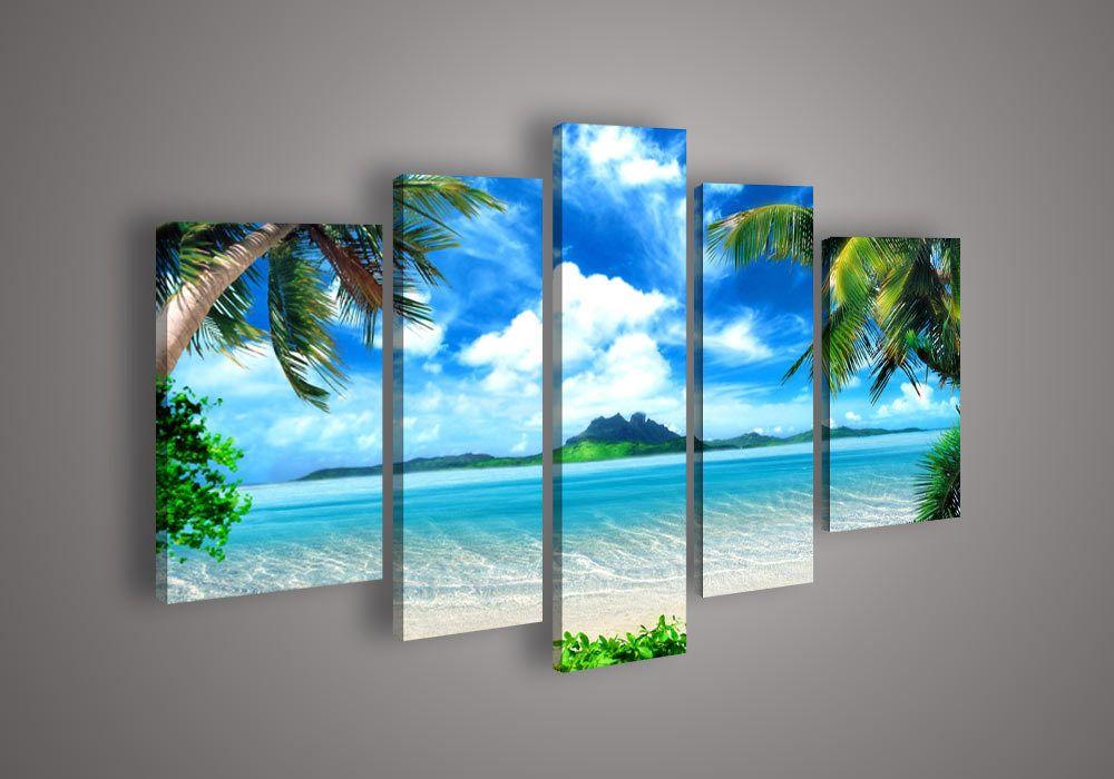 Tropical Beach Palm Tree Ocean Seascape Framed 4 Piece Canvas Wall Art Painting