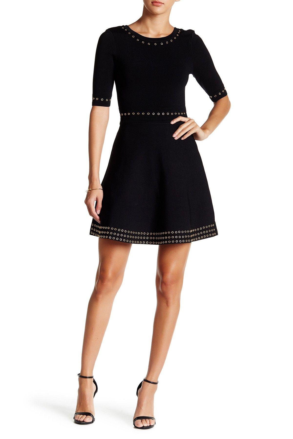 Short Sleeve Grommet Skater Dress