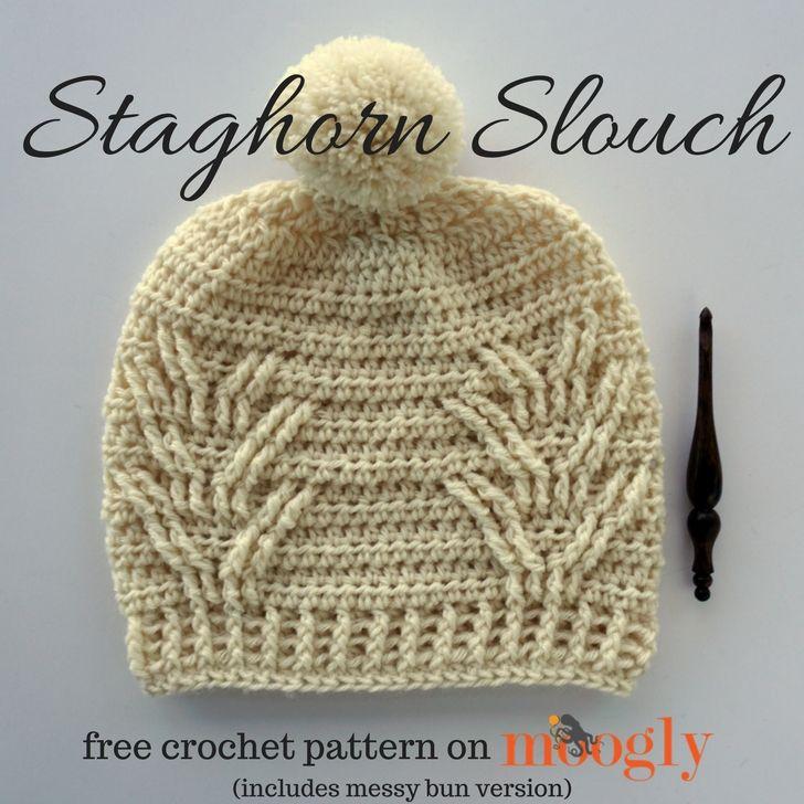 Staghorn Slouch (with Messy Bun Version | Mütze, Mütze häkeln und ...