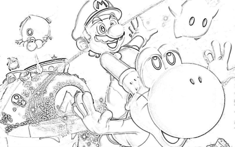 Super Mario Bros and Yoshi | Super mario bros, Coloring ...